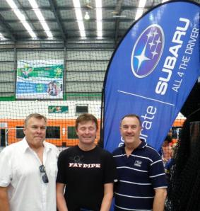 Alan Clay (Center) with Rainer Martiskin President Floorball NSW (Left) & Rob Carney Subaru Australia (Right)