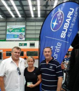 Julie Clay (Center) with Rainer Martiskin President Floorball NSW (Left) & Rob Carney Subaru Australia (Right)